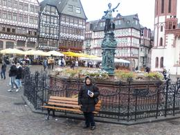 My wife Rosa in the historic platz Frankfurt, in a very cold and rainy day , Rosa R - December 2016