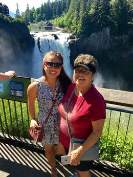 With my mom at Snoqualmie Falls , Erin O - February 2018