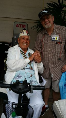 He was a soldier during pearl harbor, greeting and meeting people. , Patricia B - May 2015
