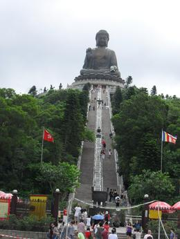 Taken from the bottom of the staircase leading up to the Giant Bronze Buddha on Lantau Island., Julie Ann G - September 2009