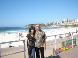 George and Cynthia Winston, afternoon stroll on Bondi Beach , Cynthia W - March 2012