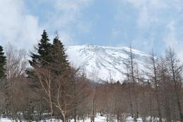 View of the peak of Mt Fuji from the 4th station. We could not get to the 5th station due to very bad snow the previous few days. - April 2008