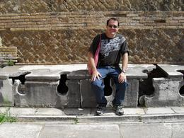 Jeff using the public toilets in Ostia. They were cleaner than those in Rome! - September 2009