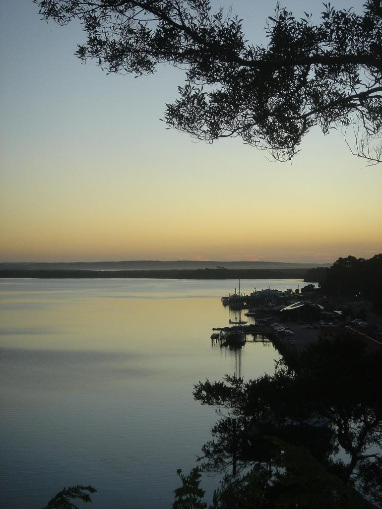 Sunset from view 42 restaurant in Strahan -