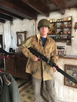 My son dressing up in some of the period objects at lunch stop. , lambornmesa41 - October 2017