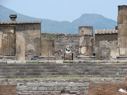 Zeus Temple - See bust in the foreground. Background is Mt Vesuvious , AlexMarron - July 2011