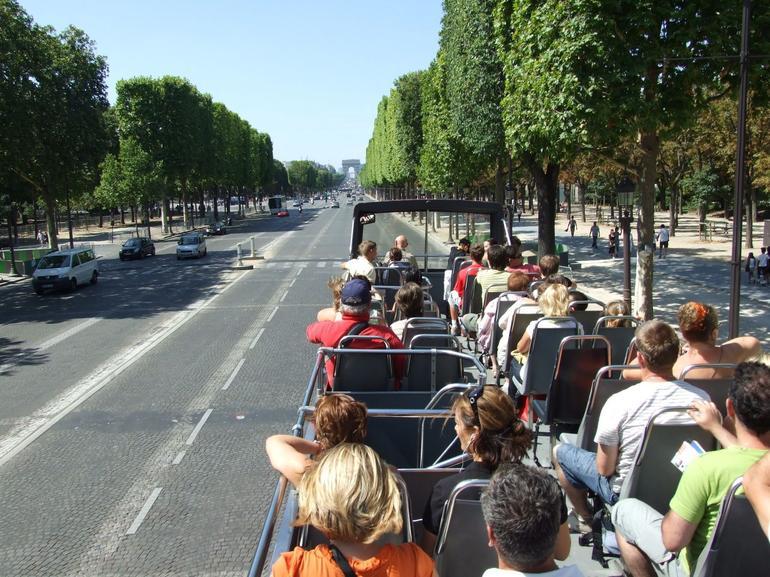 The Champs-Elysees approaching the Arc de Triomphe - Paris