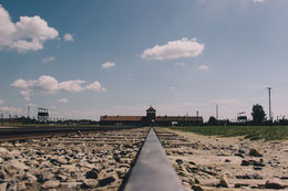 The entrance to Birkenau , causje - August 2015