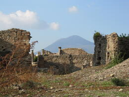 Pompeii with Mt. Vesuvius in the background. , Marjorie W - December 2011