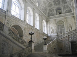 Interior of the Main Royal Palace of Bourbon Family in Naples, Italy (Palazzo Reale) with white marble staircases - November 2011