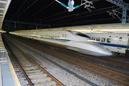 2 x bullet trains in Odegawa station, whilst waiting for the return to Tokyo., Malcolm P - November 2008