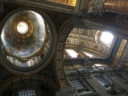 My first view of the huge domes of St Peters as we emerged from the Sisitine Chapel visit. , Marie S - October 2015