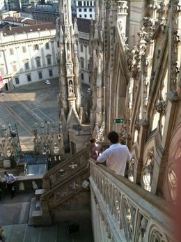 View from the Duomo rooftop is spectacular. Bring binoculars to zoom in on other buildings in the area. Being up close and personal with the spires is an unforgettable experience! , Daniel S - July 2015