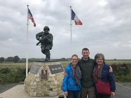 My son Steve and daughter Mary and I at the Utah beach entrance. , lambornmesa41 - October 2017