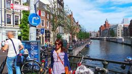 that was me on the photo posing top capture the beautiful background of Amsterdam , Marie F - August 2013