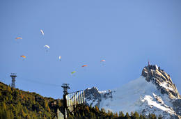 Paragliders come from the top of Aiquille du Midi. , Juhani H - October 2014