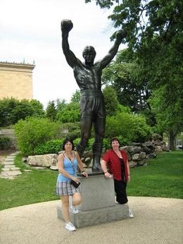 My friend and I with the statue of Rocky, Pauline D - May 2009