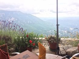 We ate lunch overlooking the valley and we could see all the way to Nice and Cannes. It was a wonderfully gorgeous view for a perfect french lunch recommended by our guide Sebastian. , Nicole G - July 2016
