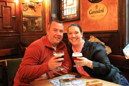 Enjoying a brew in the oldest bar in Brussels! , Destini K - November 2012