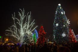At 4:30pm on Saturdays in December, the giant Christmas tree and surrounding areas throughout the town are lit up for the holidays. , Art K. - December 2014