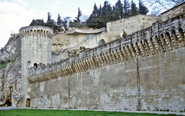 The ancient stone city wall of Avignon, France - May 2011