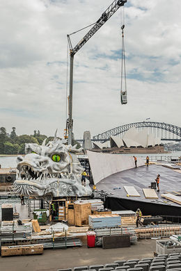 Construction of the stage begins! Photo supplied by Handa Opera Australia - March 2016