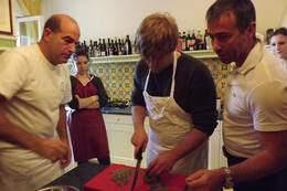 Brandon, Chef Fabio, and Igor preparing artichoke and fresh ricotta for ravioli. , Mfair5 - March 2012