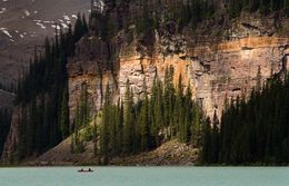 These canoeists give a sense of scale to the mountains around Lake Louise , Phill Clegg - July 2015