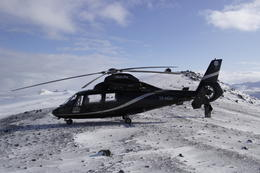 This is a photo of the helicopter at the summit of Mt. Esja , Cherie B - April 2014