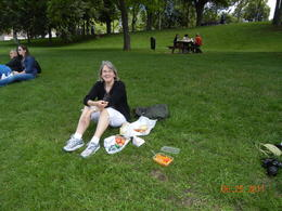 Jeanie enjoying the picnic before biking to Giverny , Eugene W - July 2011