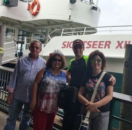 Cousins from NJ and Italy in front of New York Manhattan Island Cruise. Fun way to show off Lady Liberty and other NY sites! , Joan B - September 2015