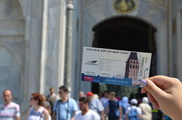Me holding a ticket of an attraction included in the pass infront of the Topkapi Palace museum. , Kirk A - December 2015