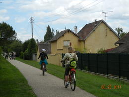 Our group riding toward Giverny , Eugene W - July 2011