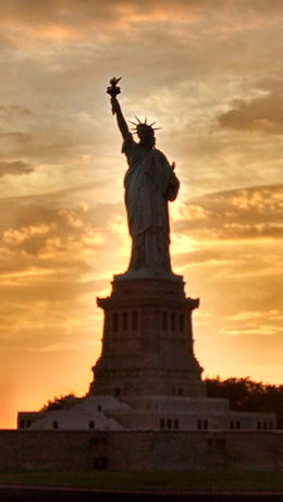 Our beautiful Statue of Liberty at sunset , mjernigan - July 2016