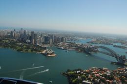 Sydney Harbour and the Harbour Bridge, from the seaplane., Jeff - February 2008