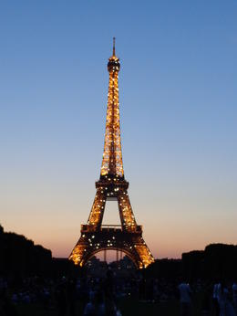 The Eiffel Tower at dusk with the lights lit up. Simply gorgeous! , dizzledorf - August 2012