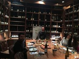 Louis with the wine tasters , Ahmer A - December 2016