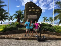Reed on left then Chole tour guide and Mary. Stopping to rest in Papeete. , Reed O - January 2017