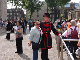 The person in the photo is me. We are in the line waiting to see the Jewels of the Crown. , OLGA J - August 2013