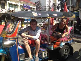 Tuk tuk ride along Khao San Road, Asha & Brock - July 2013