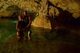After repelling, my husband and I standing in the cave. , Michelle M - June 2016
