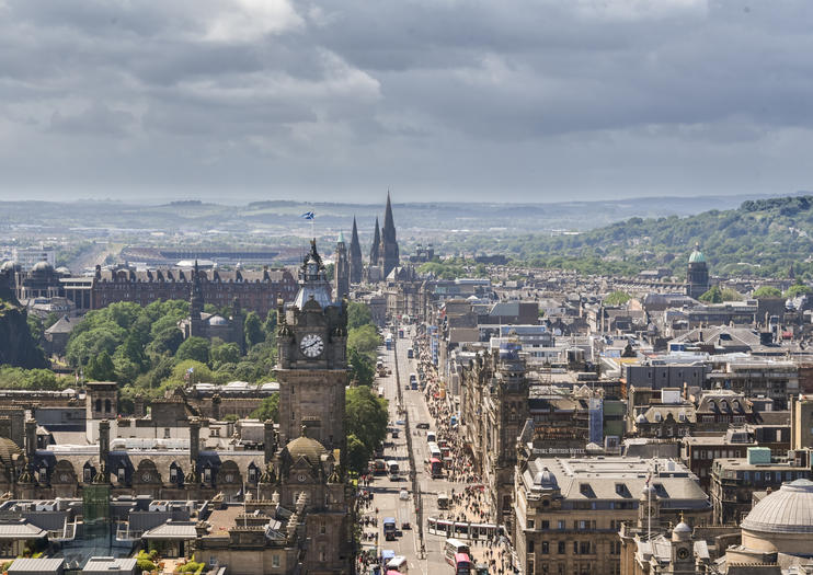 lined with shops on the north side princess street is edinburghs principal shopping street to the south this heavily trafficked thoroughfare borders the