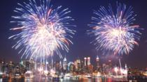 NYC July 4th Macy's Fireworks Family Friendly Festive Boat with Bar light food, New York City, ...