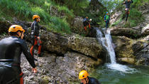 Canyoning in the Susec Canyon of the Soca valley , Bovec, Climbing