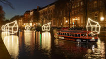Amsterdam Semi-Open Canal Boat: Water Colors Cruise of the Amsterdam Light Festival, Amsterdam, ...