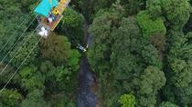 Bungee jump with canopy ziplines and long Superman cable in the way to La Fortuna, La Fortuna,...