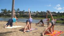 Morning Yoga Stretch At Anaehoomalu Bay, Big Island of Hawaii, Cultural Tours