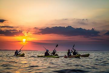 Guided half-day sunset kayaking in