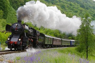 Fahrt mit Dampfeisenbahn auf der Bohinj-Bahnstrecke der Alpenregion