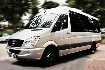 With comfortable minibus Mercedes...